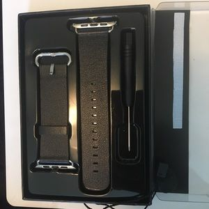 Other - Men's Black Leather Apple Watchband